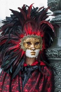 Woman in Carnival Mask and Costume, Venice, Italy