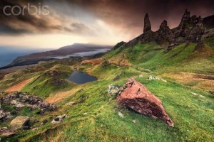 United Kingdom, Scotland, Old Man of Storr, Scenic mountain landscape with dramatic sky