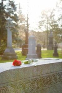 Close-up of rose on headstone, Mount Pleasant Cemetery, Toronto, Ontario, Canada