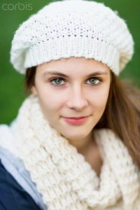 Portrait of young woman wearing woolly hat
