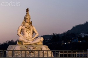India, Uttarakhand, Rishikesh, Lord shiva statue at River Ganges