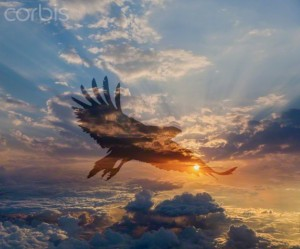 13 Jan 2014 --- Silhouette of eagle flying in dramatic sunrise sky --- Image by © John Lund/Blend Images/Corbis