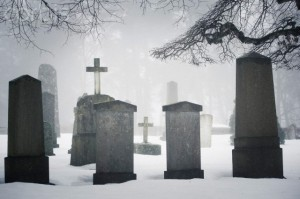 03 Feb 2014, Sweden --- Graveyard in winter fog --- Image by © Caluvafoto/Johnér Images/Corbis