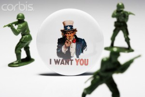 I Want You Button and Toy Soldiers --- Image by © Beathan/Corbis