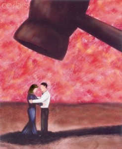 A drawing of a man and woman underneath a large hammer --- Image by © ImageZoo/Corbis