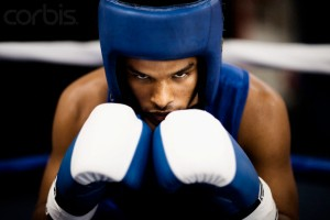 Boxer During Fight --- Image by © Nice One Productions/Corbis