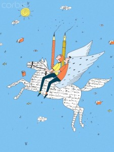 Two people holding pencils and riding a winged horse made of words --- Image by © ImageZoo/Corbis