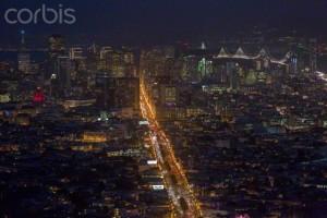 18 Dec 2014 --- Night view of downtown San Francisco --- Image by © AJ Wilhelm/Ocean/Corbis