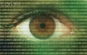 New York City, New York State, USA --- Binary code over an eye --- Image by © Buena Vista Images/Ocean/Corbis